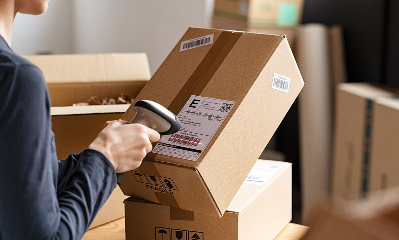 Woman scanning package