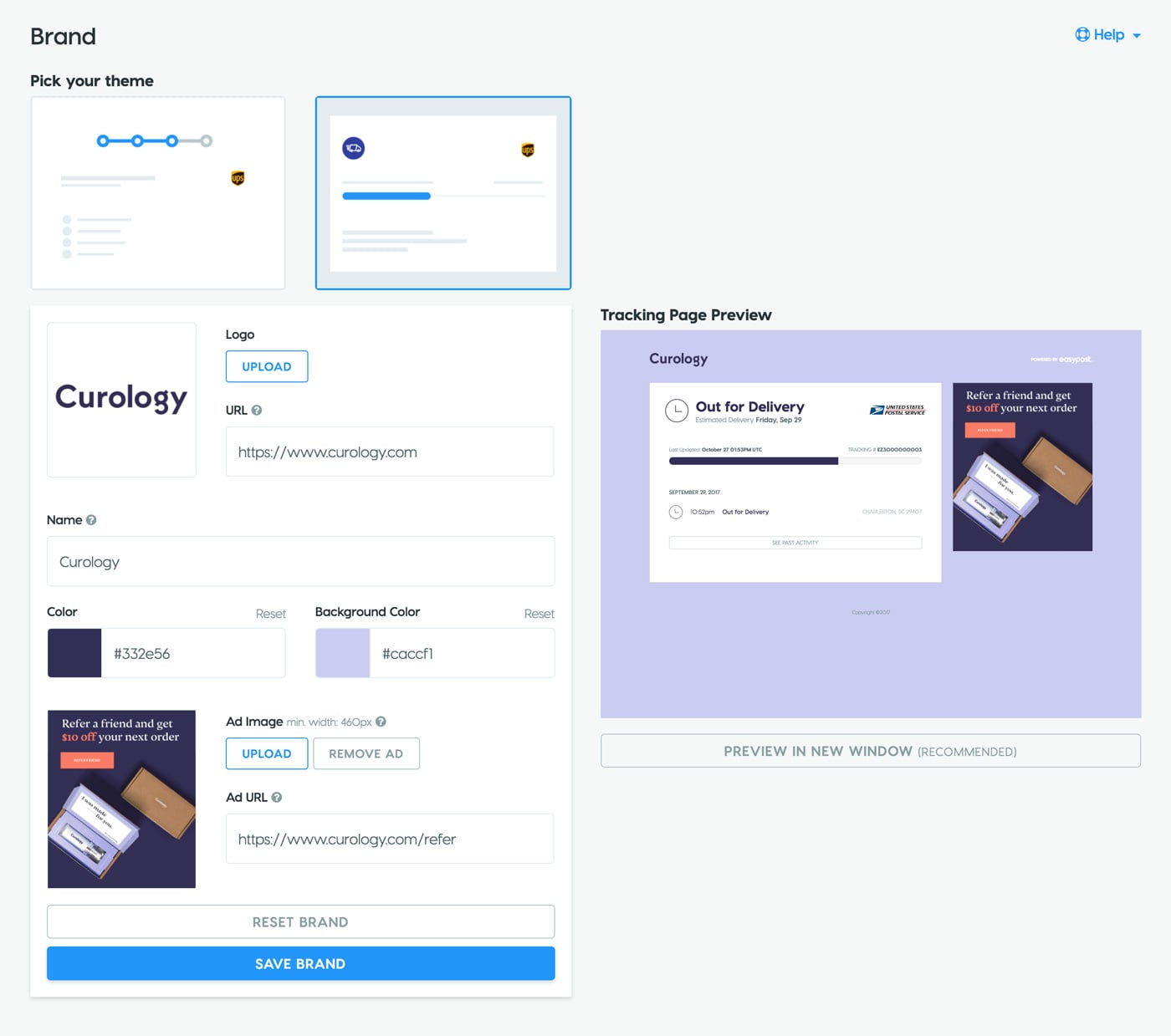 Brand Dashboard with Themes