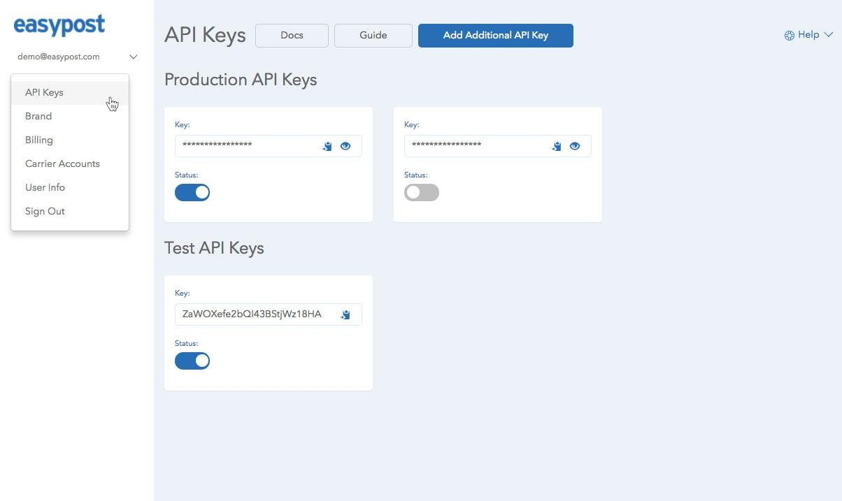 API Keys Page