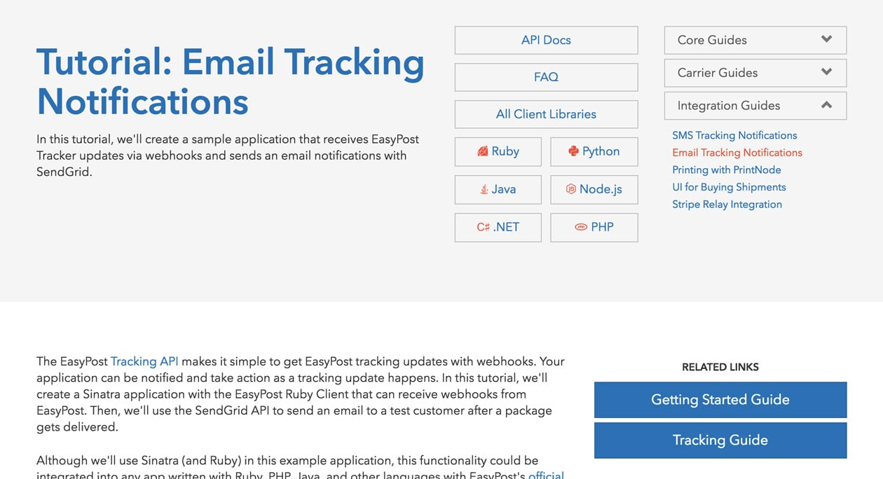 Screenshot of Email Tracking Notifications Tutorial