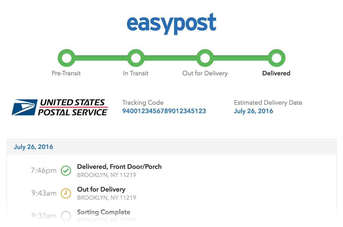 EasyPost Tracking Page