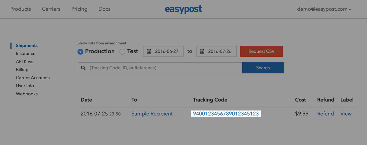 Shipments Dashboard link to Tracking Page