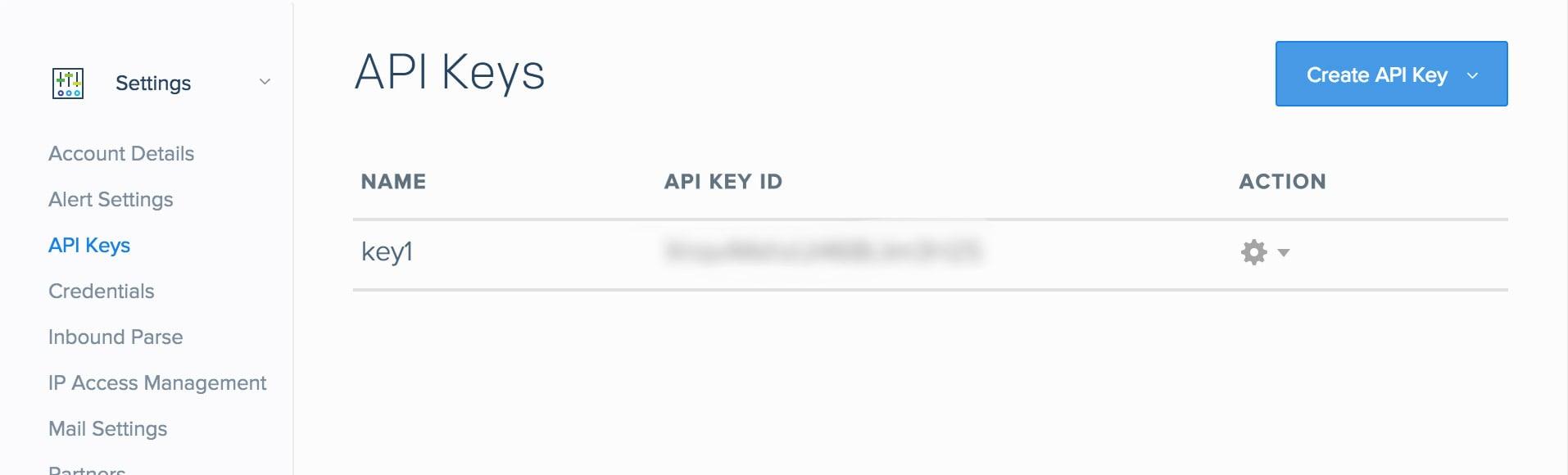 SendGrid API Keys Page