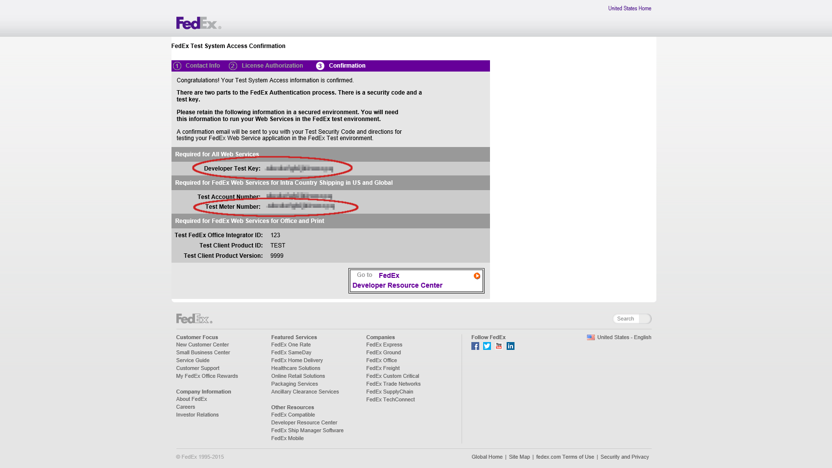 FedEx Test Account Setup 2