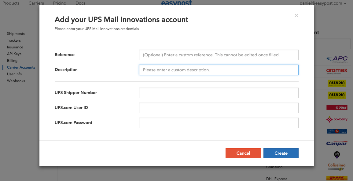 Setting Up UPS Mail Innovations with EasyPost Step 2