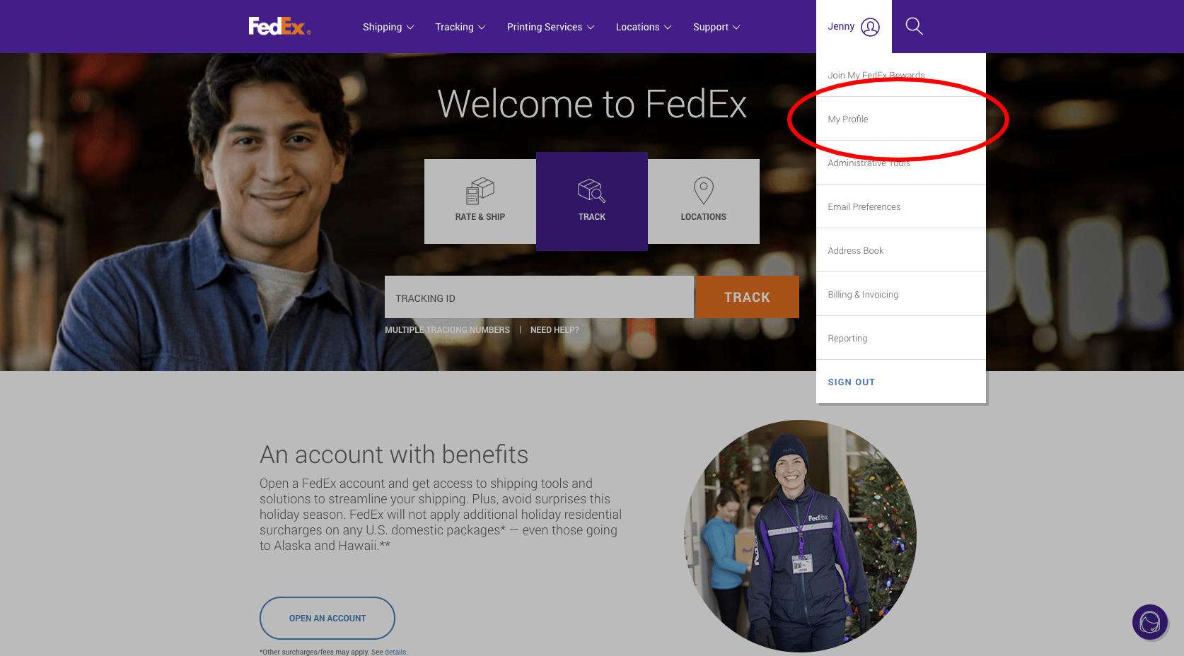 FedEx Home Page