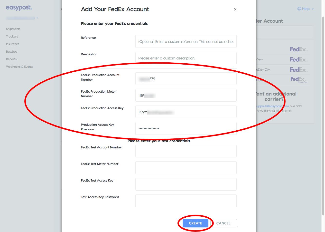 EasyPost FedEx credentials