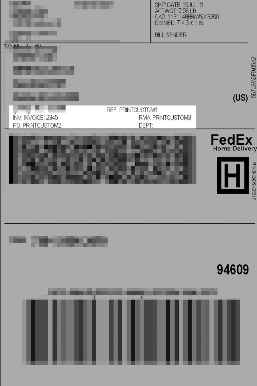 FedEx label custom text options