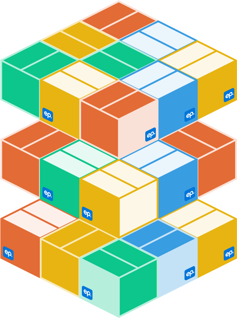 Layers of colorful boxes